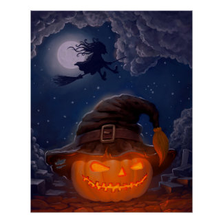 Calabaza de Halloween con la bruja Perfect Poster
