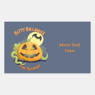 Calabaza de Halloween de la linterna de Jack O Pegatina Rectangular