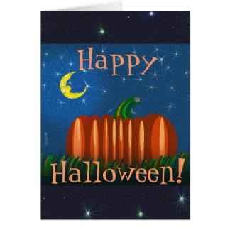 Calabaza de Halloween debajo de la luna y de las e Tarjeta De Felicitación