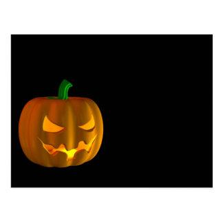 Calabaza de Halloween del dibujo animado en negro Postales