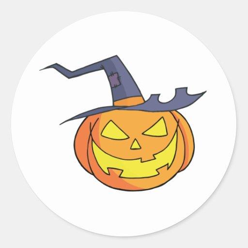 Calabaza de Halloween del dibujo animado Etiqueta Redonda