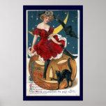 Calabaza de Halloween del vintage e impresión de l Poster