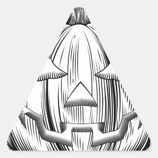 Calabaza de Halloween del vintage Pegatina Triangular