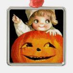 Calabaza de Halloween del vintage y artículo lindo Adorno Cuadrado Plateado