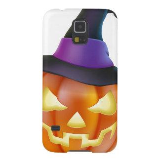 Calabaza de Halloween en gorra de la bruja Fundas De Galaxy S5