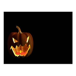 Calabaza de Halloween en negro Postales