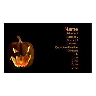 Calabaza de Halloween en negro Tarjetas De Visita
