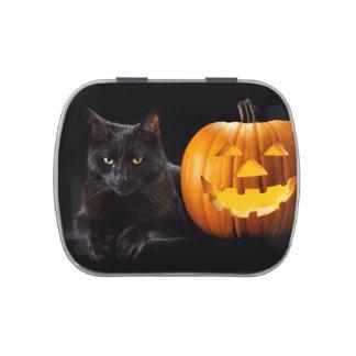 Calabaza de Halloween y gato negro Frascos De Caramelos