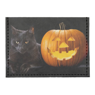 Calabaza de Halloween y gato negro Tarjeteros Tyvek®