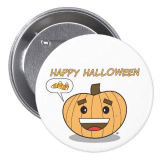 Calabaza de Kawaii del feliz Halloween - botón