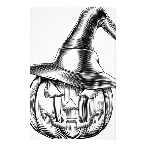 Calabaza de la bruja de Halloween del vintage Papeleria De Diseño