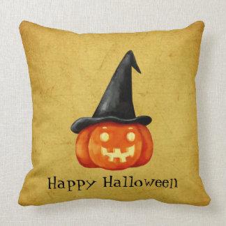 Calabaza de la bruja del feliz Halloween Cojin