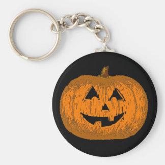 Calabaza de la linterna de Halloween Jack O Llavero Redondo Tipo Pin