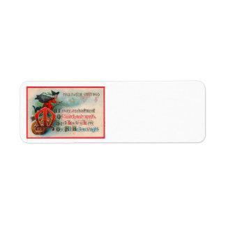 Calabaza de la linterna de Jack O de la bruja Etiqueta De Remitente