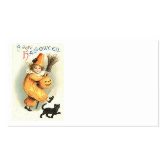 Calabaza de la linterna de Jack O del gato negro d Tarjetas De Visita