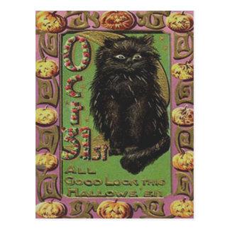 Calabaza de la linterna de Jack O del gato negro Tarjeta Postal