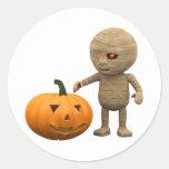 calabaza de la momia 3d etiqueta redonda