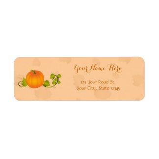 Calabaza de la vid del otoño con el texto etiqueta de remitente