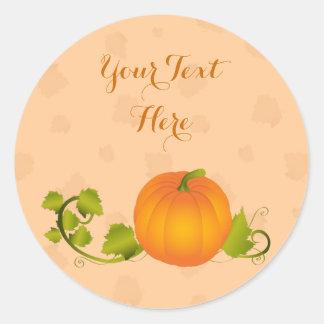 Calabaza de la vid del otoño con el texto pegatina redonda