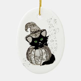 Calabaza de los ojos verdes del gato negro de Zent Ornamentos De Reyes Magos