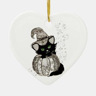 Calabaza de los ojos verdes del gato negro de Zent Ornamente De Reyes