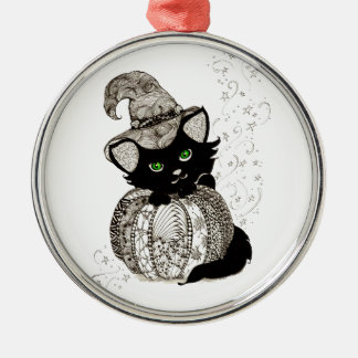 Calabaza de los ojos verdes del gato negro de Zent Ornamento De Navidad