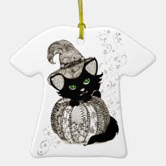 Calabaza de los ojos verdes del gato negro de Zent Ornaments Para Arbol De Navidad