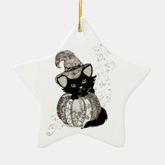Calabaza de los ojos verdes del gato negro de Zent Adorno De Navidad