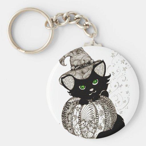 Calabaza de los ojos verdes del gato negro de Zent Llaveros Personalizados