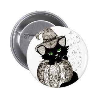 Calabaza de los ojos verdes del gato negro de Zent Pins