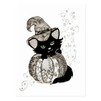 Calabaza de los ojos verdes del gato negro tarjeta postal