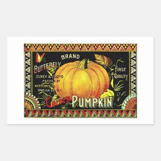 Calabaza de oro de Halloween del vintage retro Pegatina Rectangular
