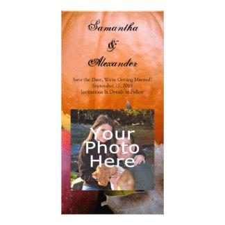 Calabaza de otoño, Apple y hojas coloridas Tarjetas Fotográficas