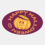 Calabaza de risa linda del feliz Halloween Colcomanias Óval Personalizadas