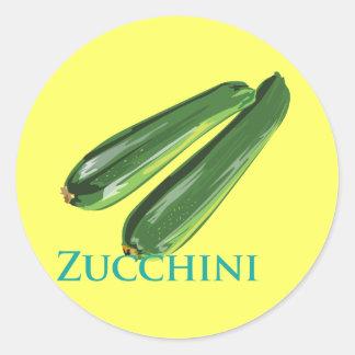 Calabaza del calabacín etiqueta redonda