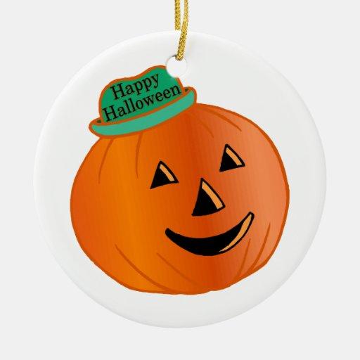 Calabaza del feliz Halloween con el gorra Adorno Redondo De Cerámica