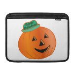 Calabaza del feliz Halloween con el gorra Funda MacBook