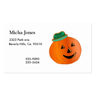 Calabaza del feliz Halloween con el gorra Tarjetas De Visita