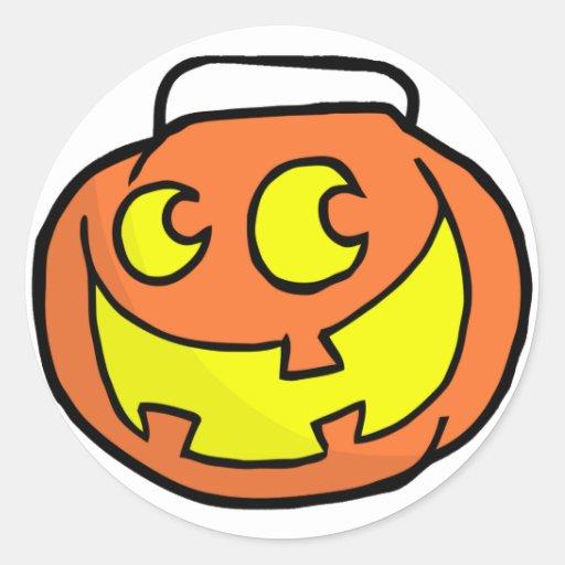 Calabaza del feliz Halloween del dibujo animado Etiqueta Redonda