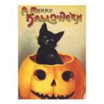 Calabaza del gato negro de Halloween del vintage q Invitacion Personalizada
