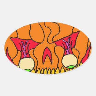 Calabaza del globo del ojo para Halloween Pegatina Ovalada
