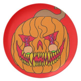 Calabaza del globo del ojo para Halloween Platos