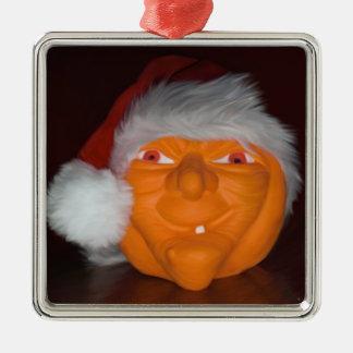 Calabaza del navidad adorno cuadrado plateado
