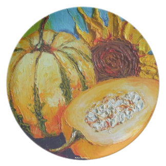Calabaza del relevo de la caída calabaza y placa platos