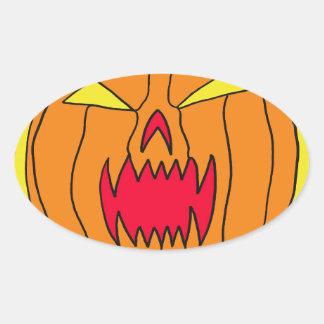 Calabaza el flamear Halloween Pegatina Ovalada