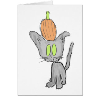 Calabaza en la cabeza del gatito felicitación