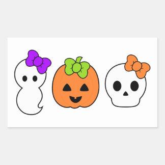 Calabaza, fantasma y cráneo lindos rectangular pegatinas