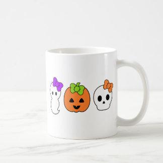 Calabaza, fantasma y cráneo lindos tazas