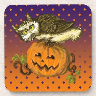 Calabaza fantasmagórica de Halloween del búho Posavasos De Bebidas