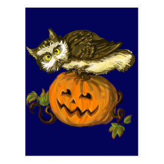 Calabaza fantasmagórica de Halloween del búho Tarjeta Postal